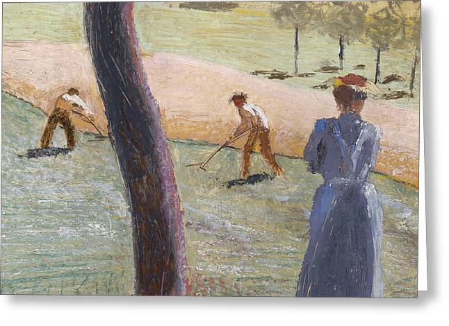 Macke Greeting Cards - Workers in a Field at Kandern Greeting Card by August Macke