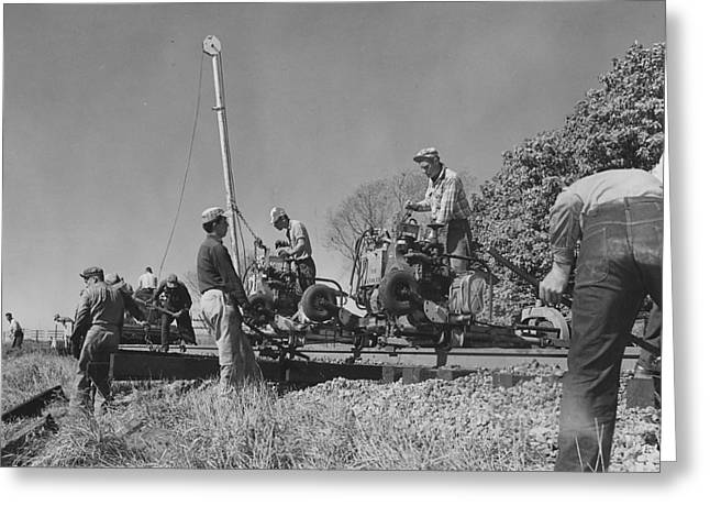 """""""work Crew"""" Greeting Cards - Workers Operate Rail Machines - 1957 Greeting Card by Chicago and North Western Historical Society"""