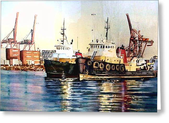 Working Boats Greeting Cards - Working Boats -Seattle  Greeting Card by June Conte  Pryor