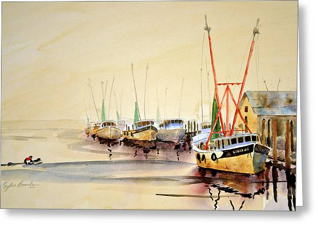 Working Boats Greeting Card by Shirley Sykes Bracken