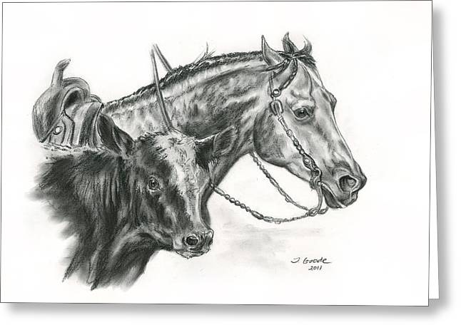 Quarter Horses Drawings Greeting Cards - Working Cowhorse Greeting Card by Jana Goode