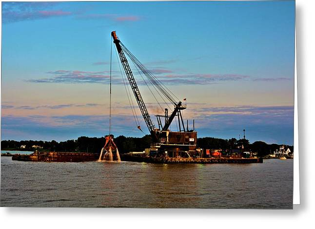 Beach Landscape Greeting Cards - Working Crane Greeting Card by Richard Jenkins