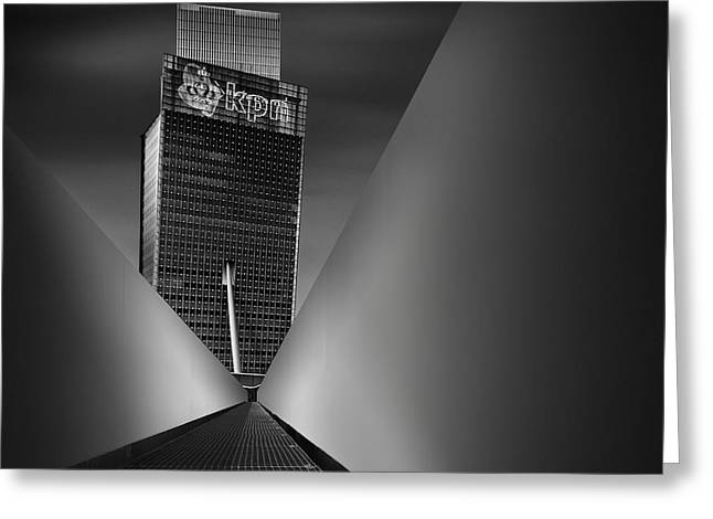 Blackandwhite Greeting Cards - Working Dynamics I ~ Kpn Telecom Tower Greeting Card by Mabry Campbell