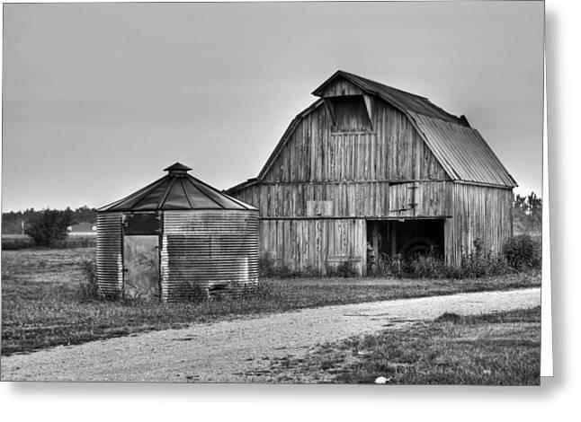 Working Farms Greeting Cards - Working Farm Barn and Storage Bin Greeting Card by Douglas Barnett