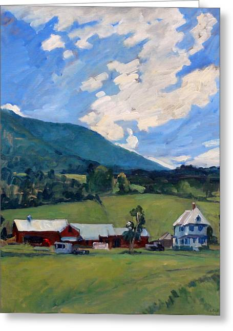 Abstract Realist Landscape Greeting Cards - Working Farm Berkshires Greeting Card by Thor Wickstrom