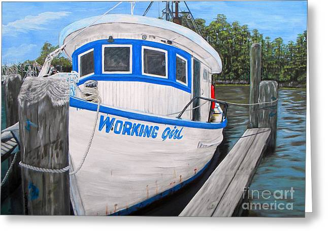 Shrimp Boat Greeting Cards - Working Girl Greeting Card by JoAnn Wheeler