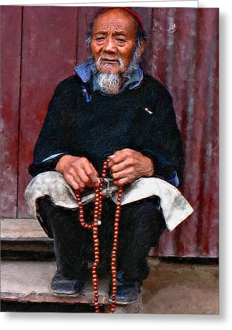 Prayer Beads Greeting Cards - Working Hands impasto Greeting Card by Steve Harrington