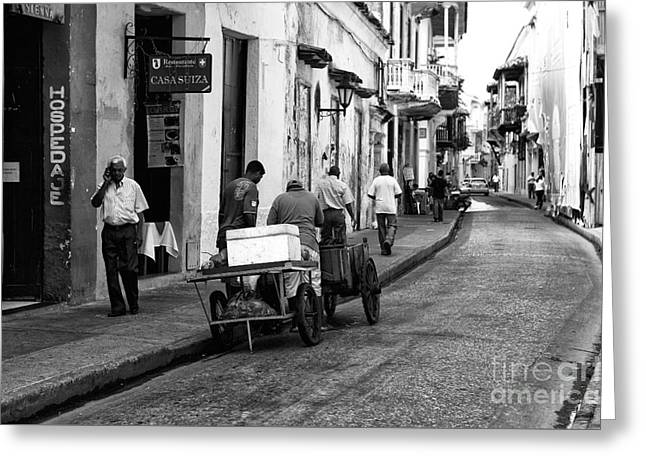 ist Working Photo Photographs Greeting Cards - Working in Cartagena Greeting Card by John Rizzuto