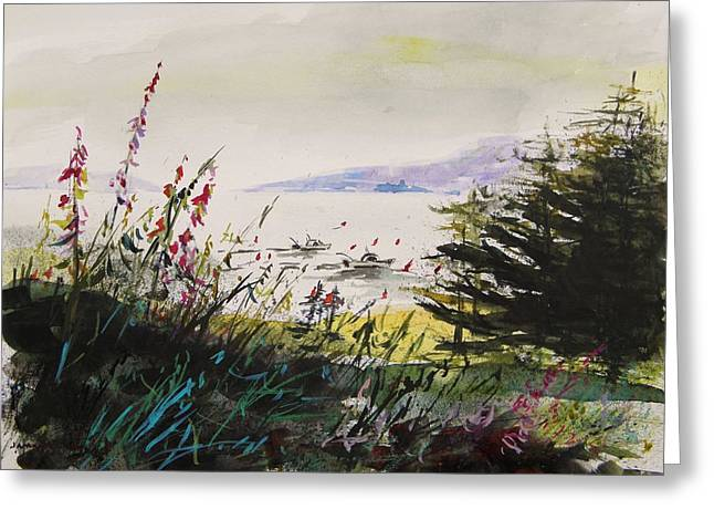Maine Landscape Drawings Greeting Cards - Working in the Cove Greeting Card by John  Williams