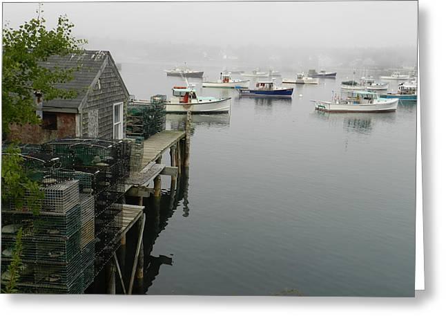 Boats In Harbor Greeting Cards - Working Lobster Harbor Greeting Card by Deborah Ferree