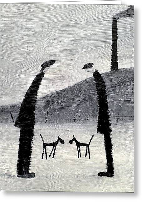 House Pet Greeting Cards - British Industrial Northern Art Landscapes - Working Men and Dogs Greeting Card by Walker Scott
