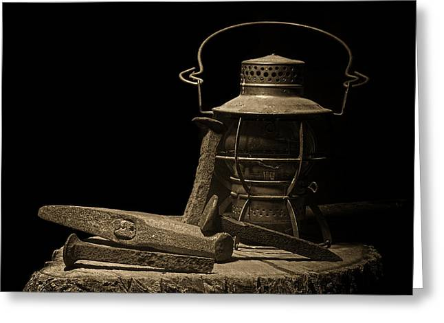 Lamp Greeting Cards - Working on the Railroad Still Life Greeting Card by Tom Mc Nemar