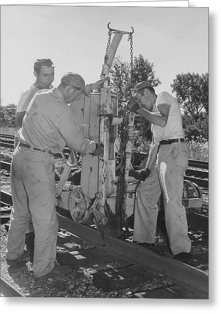 """""""work Crew"""" Greeting Cards - Working on the Rails Greeting Card by Chicago and North Western Historical Society"""