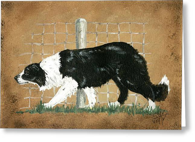 Collie Mixed Media Greeting Cards - Working Greeting Card by Sue Ann Thornton