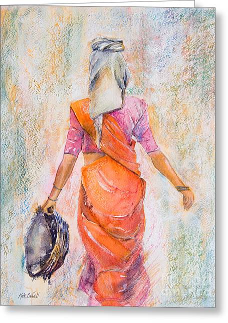 Kate Bedell Greeting Cards - Working Woman Greeting Card by Kate Bedell