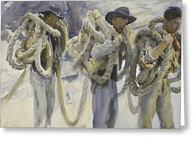 Workmen At Carrara Greeting Card by John Singer Sargent