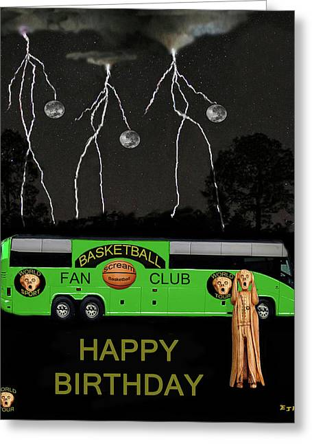 Shooting The Ball Greeting Cards - World Basketball Tour Greeting Card by Eric Kempson