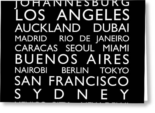 World Cities Bus Roll Greeting Card by Michael Tompsett