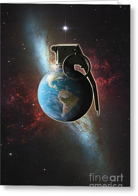 Hostility Greeting Cards - World Conflict Greeting Card by George Mattei