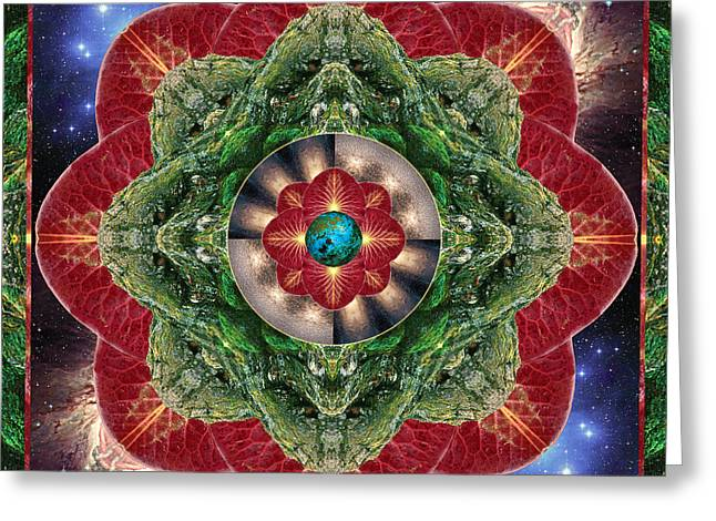 Green Geometry Art Greeting Cards - World-Healer Greeting Card by Bell And Todd