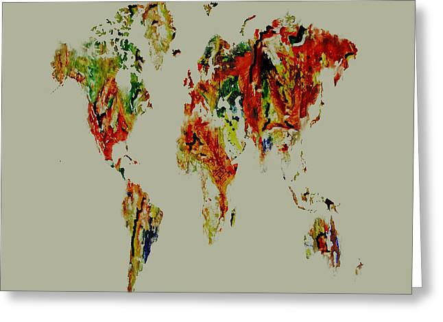 World Map 02a Greeting Card by Brian Reaves