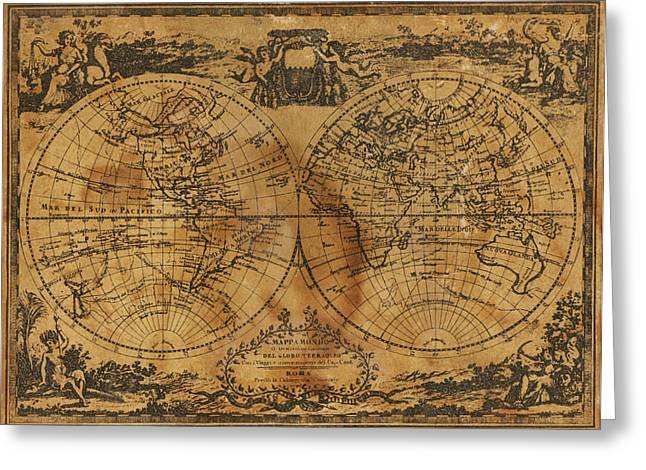 World Globe Greeting Cards - World Map 1788 Greeting Card by Kitty Ellis