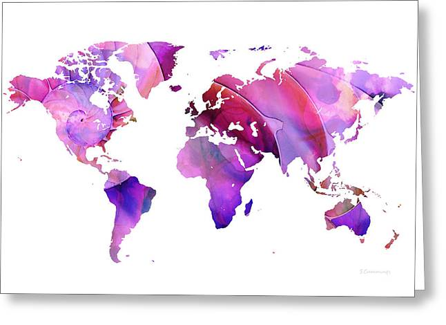 Purchase Art Greeting Cards - World Map 20 Pink and Purple by Sharon Cummings Greeting Card by Sharon Cummings