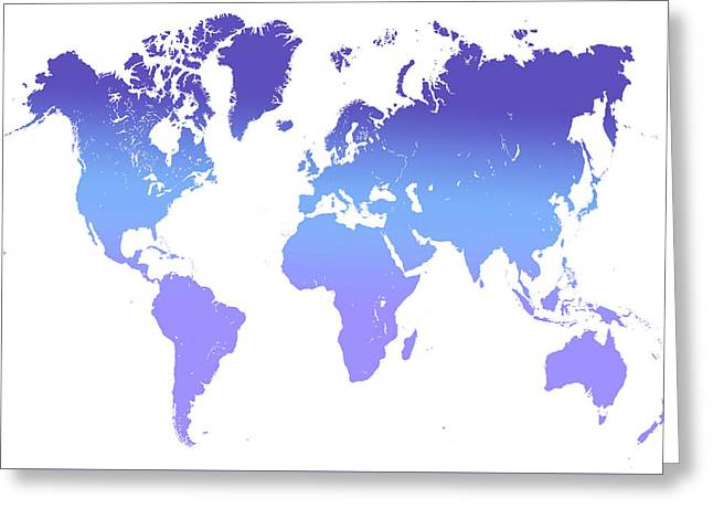 World Map Abstract. Blue Purple Greeting Card by Jenny Rainbow