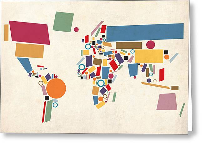 Abstract Glass Greeting Cards - World Map Abstract Greeting Card by Michael Tompsett