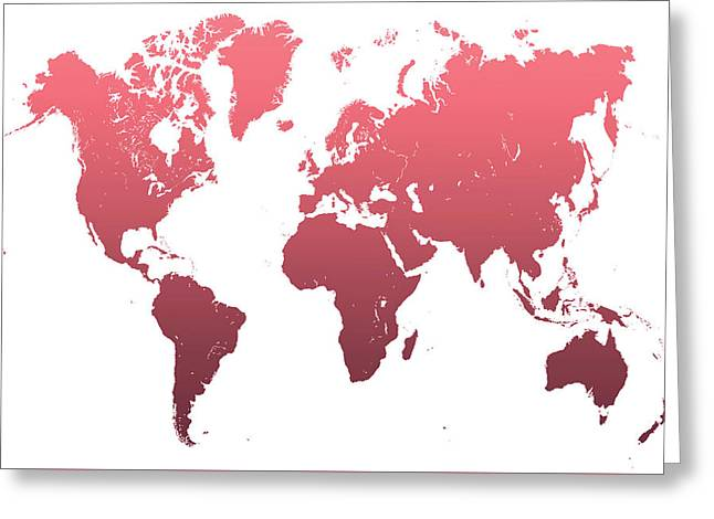 World Map Abstract. Pink Greeting Card by Jenny Rainbow