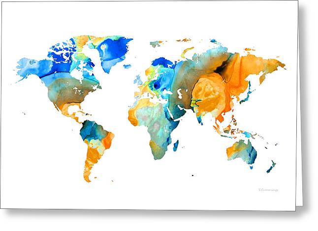 Purchase Art Greeting Cards - World Map Art - Map Of The World 14 - By Sharon Cummings Greeting Card by Sharon Cummings
