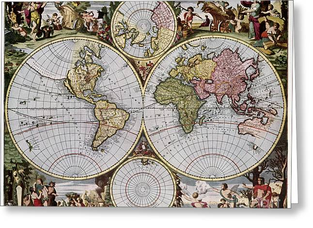 1690 Greeting Cards - WORLD MAP, c1690 Greeting Card by Granger