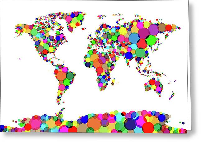 Circles Greeting Cards - World Map Circles Greeting Card by Michael Tompsett