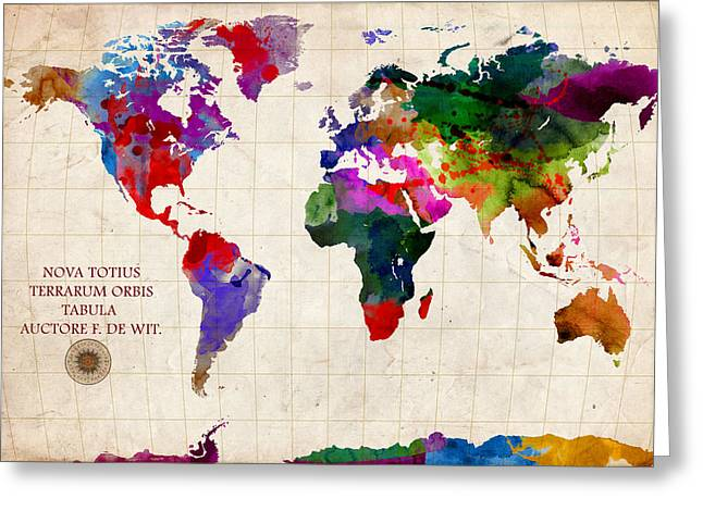 World Maps Mixed Media Greeting Cards - World Map Greeting Card by Gary Grayson