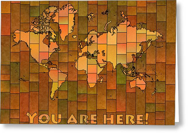 Texting Greeting Cards - World Map Glasa You Are Here Brown Orange Green Greeting Card by Eleven Corners