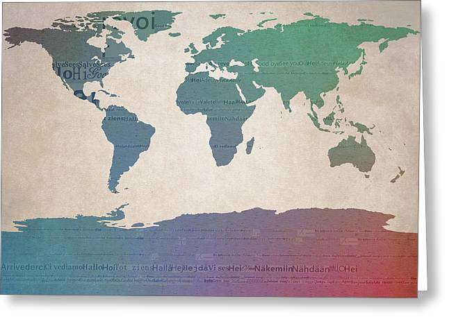 World Map Greetings Greeting Card by Dan Sproul