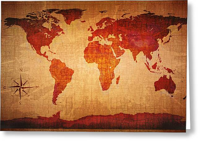 Fade Greeting Cards - World Map Grunge Style Greeting Card by Johan Swanepoel