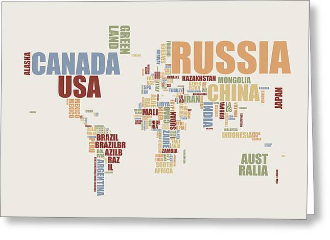 Map Of The World Greeting Cards - World Map in Words 2 Greeting Card by Michael Tompsett