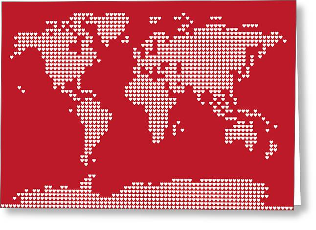 World Map Print Greeting Cards - World Map Love Hearts Greeting Card by Michael Tompsett