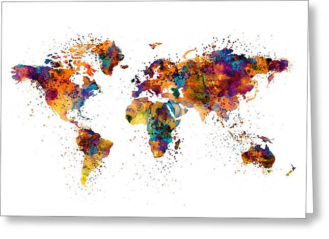 World Map Greeting Card by Marian Voicu
