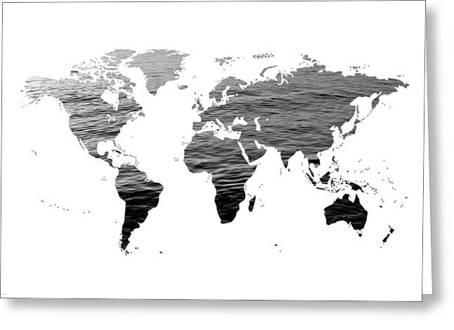 Goth Girl Digital Art Greeting Cards - World Map - Ocean Texture - Black and White Greeting Card by Marianna Mills