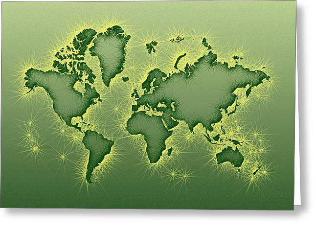 Green And Yellow Greeting Cards - World Map Opala Square in Green and Yellow Greeting Card by Eleven Corners