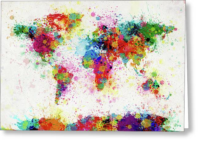 The Tapestries Textiles Greeting Cards - World Map Paint Drop Greeting Card by Michael Tompsett