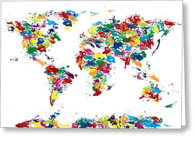 World Map Paint Drops Greeting Card by Michael Tompsett