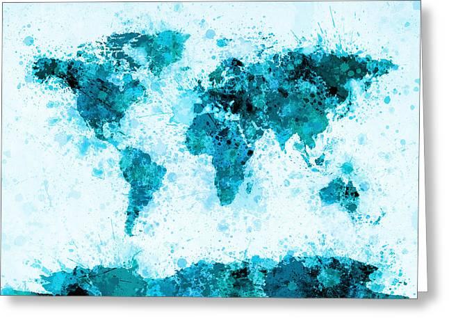 World Map Paint Splashes Blue Greeting Card by Michael Tompsett