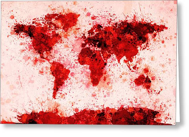 City Map Greeting Cards - World Map Paint Splashes Red Greeting Card by Michael Tompsett