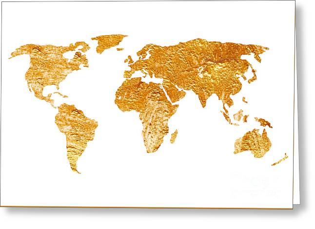 World Map Silhouette For Sale Greeting Card by Joanna Szmerdt