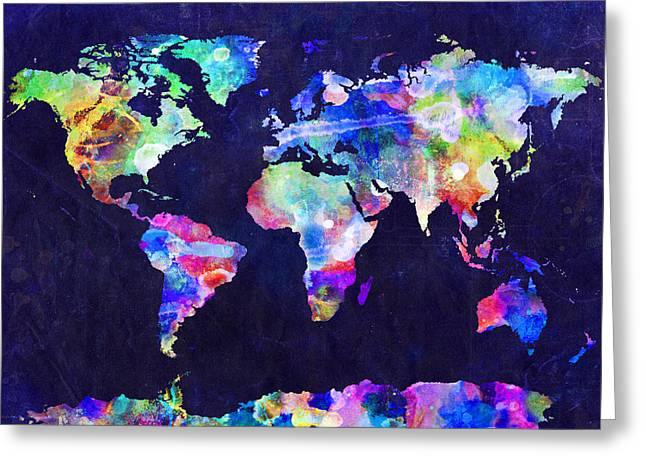 Panoramic Greeting Cards - World Map Urban Watercolor Greeting Card by Michael Tompsett