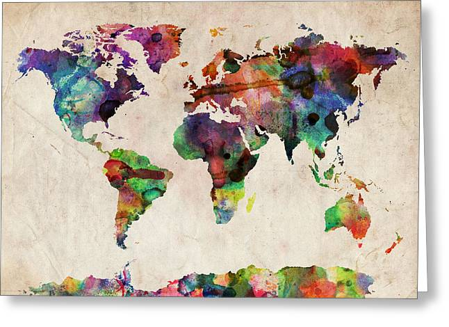 The Tapestries Textiles Greeting Cards - World Map Watercolor Greeting Card by Michael Tompsett