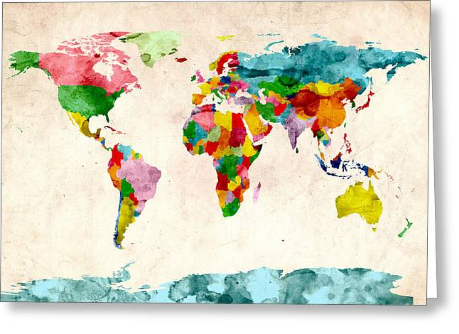 World Map Watercolors Greeting Card by Michael Tompsett